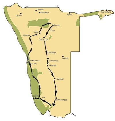 Namibia Rundreise auf einer Karte dargestellt