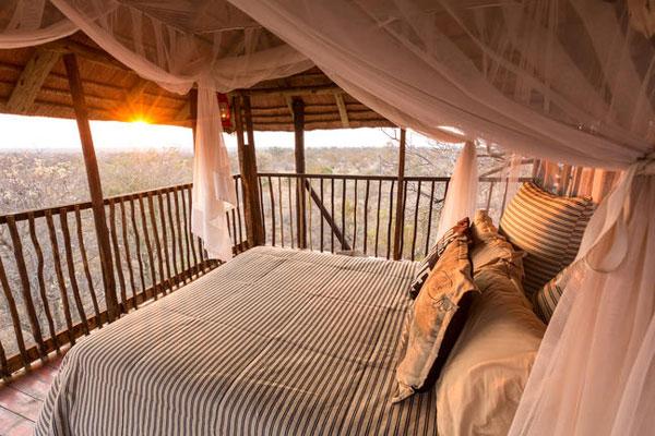 Im Afrika on Foot können Sie im Bauhaus übernachten hier sehen Sie ein Baumhaus Bett