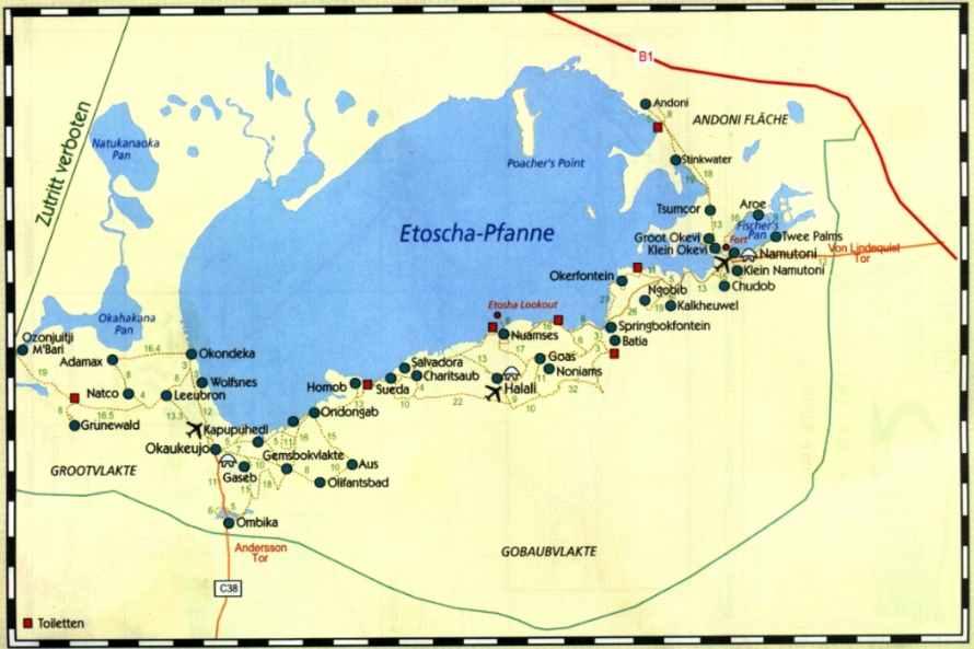 Eine Karte der Etosha Pfanne im Zentrum des Etosha Nationalparks