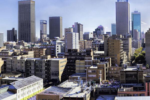 Skyline von Johannesburg in Südafrika