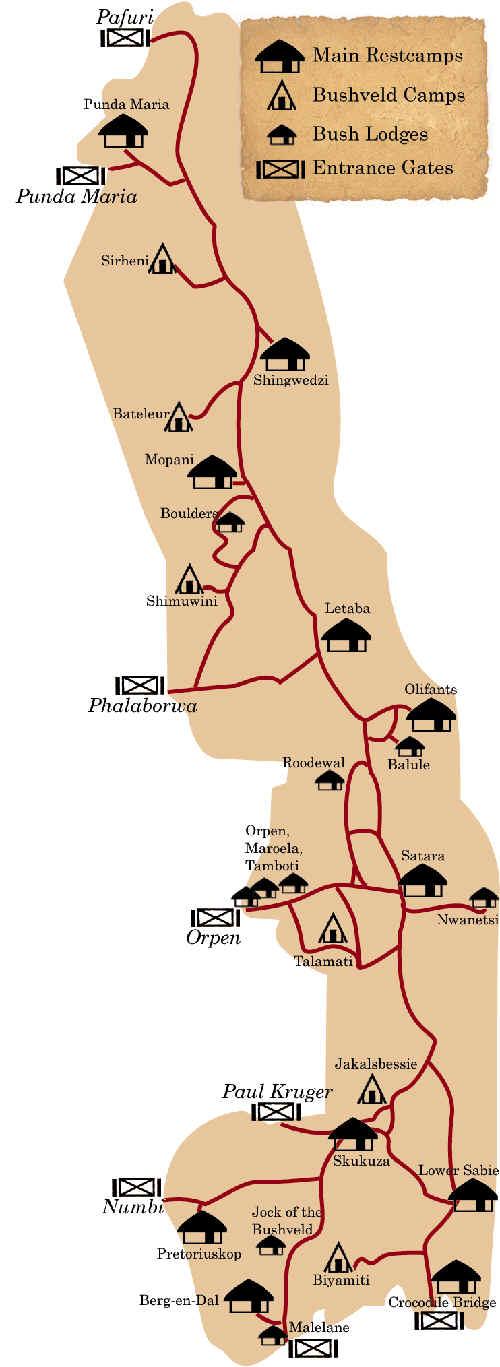 Karte des Krüger Nationalpark der in Südafrika liegt