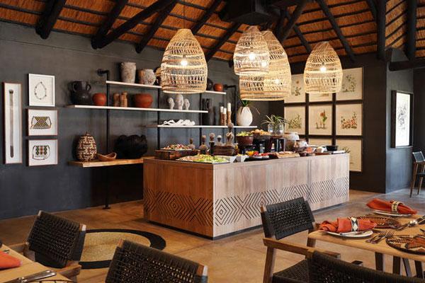 Frühstücksbuffet im Malamala camp in Südafrika