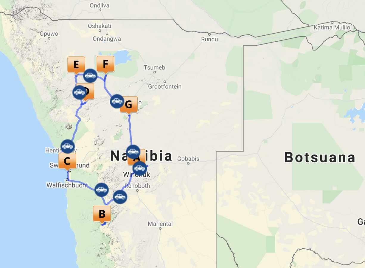 Reiseroute Namibia